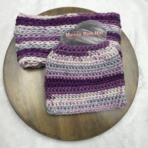 Purple Stripes Bun Hat